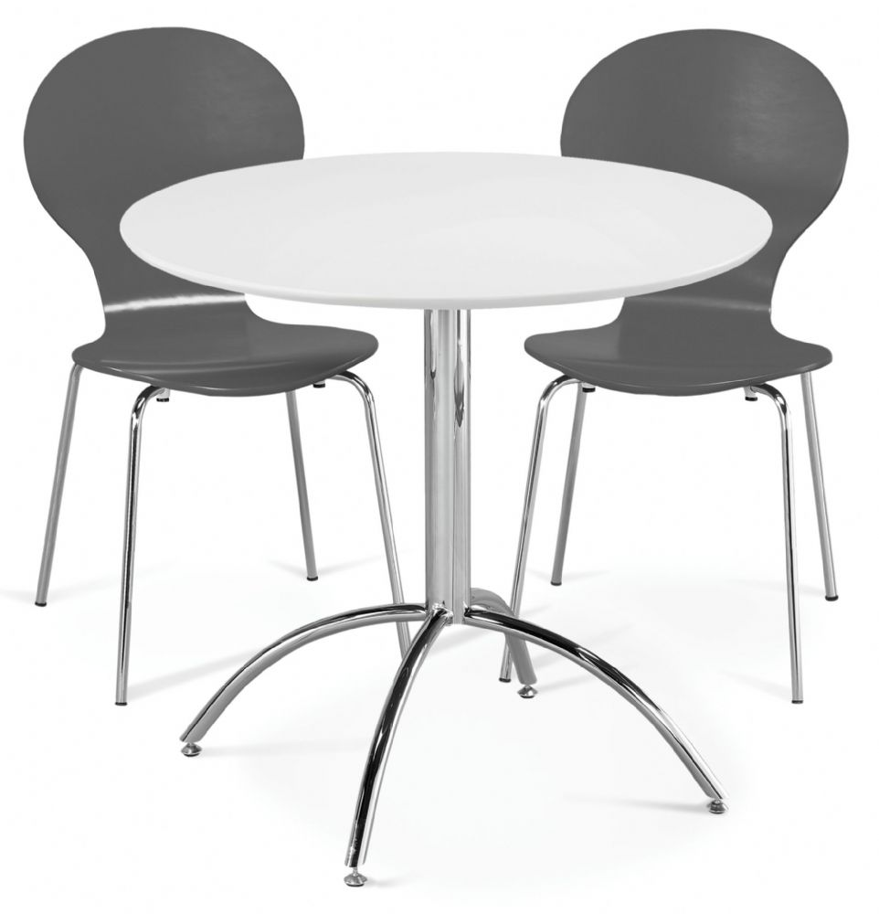 Dining Table Set Deals: Kimberley Dining Set White & 2 Slate Grey Chairs Sale Now